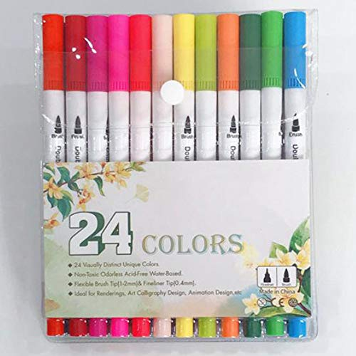 24 Packs Dual Tip Colored Pens Brush and Fine Tip Pens Double Head Ended Colorful Drawing Pens Art Pens Felt Tip Coloring Writing Painting Lettering Markers (Set of 24 Colors)
