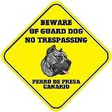 Perro de Presa Canario Beware Guard - Placa de metal para pared, diseño con texto en inglés 'No Trespass Caution', 30,5 x 30,5 cm