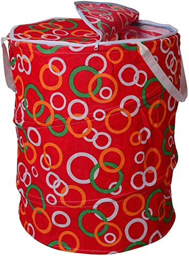 Perpetual Big Size Laundry Bag Foldable & Collapsible Round Basket with Easy to Carry Handle Zipper Lid - for Home, Dorms, Hostel, Toy Storage, Clothes (Multicolor Print) Big Size 50 liters