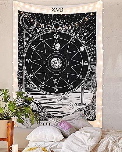 Tapiz de Tarot Black Star The Moon The Sun para colgar en la pared de Europa medieval, adivinación, blanco y negro, decoración de pared pequeña