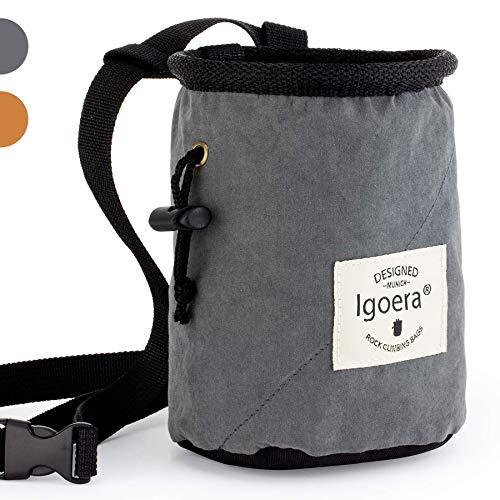 Igoera Chalkbag zum Klettern und Bouldern | spezielles Innenfutter für perfekte Chalk-Verteilung | robuster und langlebiger Kreidebeutel für mehr Sicherheit. (Grau)