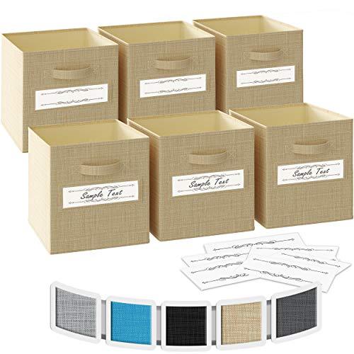 Ordnungsbox 33x33x33- 6 Boxen Aufbewahrung Set | Faltboxen Mit Zwei Tragegriffen & 10 Label Karten | Faltbare Kallax Boxen | Extra Stabile Stoffbox Als Kallax Einsatz | Kisten Aufbewahrung [Beige]