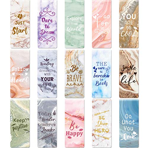 30 Pieces Inspirational Magnetic Bookmarks Encouraging Bookmark Positive Magnetic Page Clips Small Bookmarks for Students Teachers Office School Supplies, 15 Marble Styles