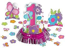 Amscan Sweet Birthday Girl 1st Birthday Table Decorating Kit, Large, Pink/White Large