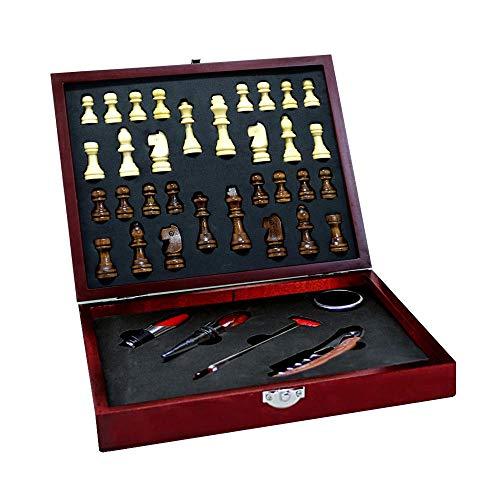 Conjunto de Acessórios para Vinho 6 Peças Inox Caixa com Jogo Xadrez Unyhome