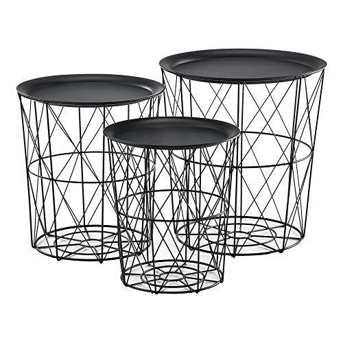 [en.casa] Set de 3X Cestas de Metal con bandejas extraíbles Mesa Baja Mesa Auxiliar para Almacenar Mesas de té y café Mesas de Centro Negro
