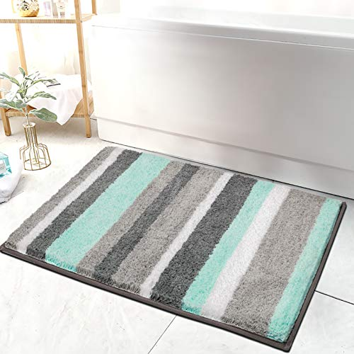 "HEBE Non-Slip Bathroom Rug Mat Shag Microfiber Shower Bath Rug Absorbent Bath Mat for Bathroom Machine Washable 18""x26"""