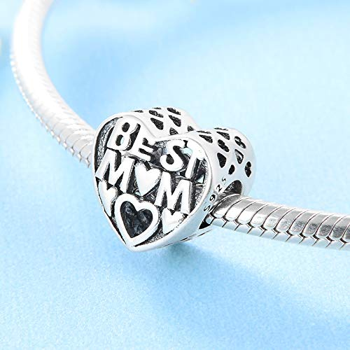 XSZPKL 925 Sterling Silber Herzförmige Mode Buchstaben ausgehöhlt Liebesperlen Fit Original Bettelarmband Schmuck