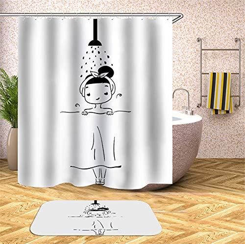 ZZZdz handgeschilderd. Klein meisje onder de douche. Douchegordijn. Waterdicht. Eenvoudig te reinigen. 180 x 180 cm. Tapijt. Plus fluweel. 40 x 60 cm. Badkameraccessoires.