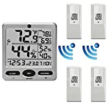 Ambient Weather WS-08-X4 Wireless Indoor/Outdoor 8-Channel Thermo-Hygrometer with Daily Min/Max Display with Four Remote Sensors