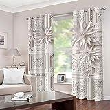 LWXBJX Opacas Cortinas Dormitorio - Textura de Flor Blanca - Impresión 3D Aislantes de Frío y Calor 90% Opacas Cortinas -...