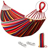 Outerman 285 x 155 cm Camping Hammock, Hammocks Thickened Durable Canvas Fabric with 550lb Load Capacity, Two Anti Roll Balance Beam and Sturdy Metal Knot Tree Straps for Travel, Beach, Backyard etc.
