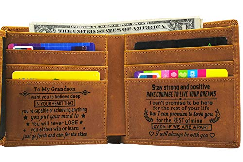Engraved Mens Wallet Personalized Leather Wallet for Men Husband Dad Son Boyfriend Love Custom Gifts (Tri-fold wallet to my grandson)