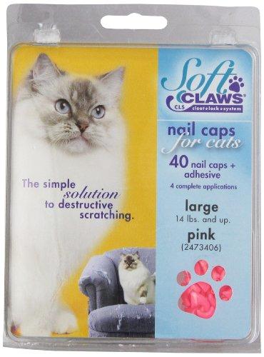 SOFT CLAWS Kit de Protège-Griffes pour Chats Adultes, Large, Rose