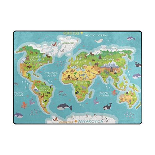 Teppich, 150 x 200 cm, rutschfest, moderne Weltkarte, Flora, Tier, Ozean, Teppich für Wohnzimmer/Baby/Haustierzimmer/Schlafzimmer, Esszimmer/Küche