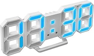 LEDデジタル時計 電子時計 目覚まし 多機能 温度計室内 ホーム カレンダー 壁掛け 置時計 おしゃれ 可愛い 明るさ調整 輝度調整可能 HOMEYA (ブルー)