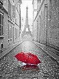 5d pintura de diamantes taladro completo redondo negro rojo Torre Eiffel diamantes de imitación bordado de diamantes Kit de artesanía de paisaje A5 45x60cm