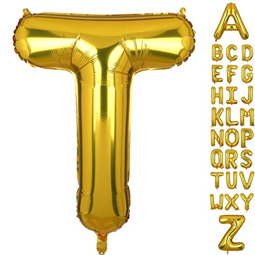 40 Inch Large Gold Letter T Foil Balloons Hellium Golden Big Alphabet Mylar Balloon for Birthday Party Decoration Custom Word HH(Gold-T)