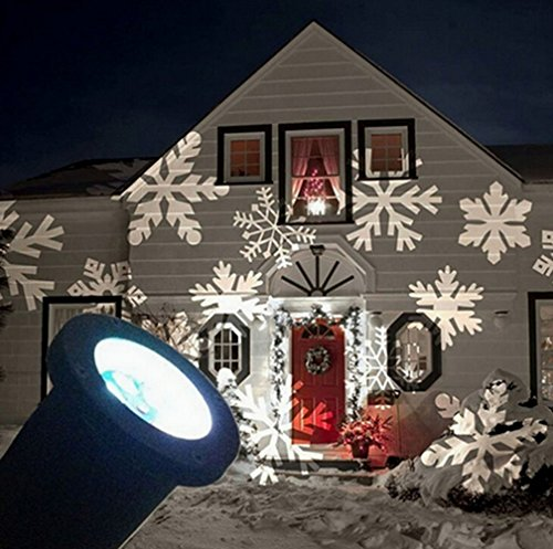 SMITHROAD IP67 LED Projektionslampe Schneeflocken Muster Strahler für Weihnachten Innen und Außen Garten Beleuchtung,Weiß