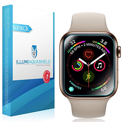 Price comparison product image ILLUMI AquaShield Screen Protector Compatible with Apple Watch Series 4 (40mm)(6-Pack)(Easy Install)(Slim Design) No-Bubble High Definition Clear Flexible TPU Film