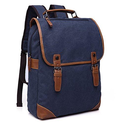Minetom Lona Backpack Mochilas Escolares Sencillo Mochila Escolar Casual Bolsa Viaje Moda Hombre Azul One Size(31 * 14 * 48 Cm)