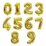Zcm Globo La Plata del Oro Digital de 16/32 Pulgadas 1pcs aumentó de Aluminio lámina de Oro número Globo Decoraciones de la Fiesta de cumpleaños de Vacaciones (Ballon Size : 16inch, Color : Gold)