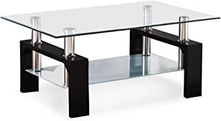 SUNCOO Coffee End Side Table with Shelves Living Room Furniture Rectangle Shape Clear Glass Top&Glossy Black Finish Legs