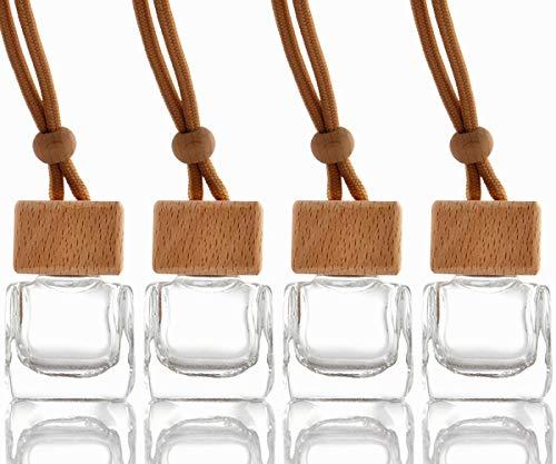 SZWL 4pcs Auto Parfüm Flasche,Auto zum Aufhängen Parfüm leer Glas Flasche Glasdiffusorflaschen, Ätherische Öl Duft Reed Halter | 10ml,Autoparfüm Autoduft Parfüm Flasche