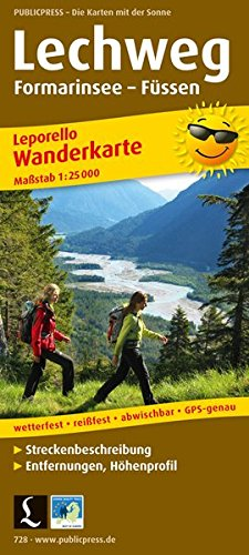 Lechweg, Formarinsee - Füssen, Wanderkarte 1:25.000: Wanderkarte Leporello mit Streckenbeschreibung, Entfernungen, Höhenprofil wetterfest, reißfest, ... GPS-genau. (Leporello Wanderkarte: LEP-WK)