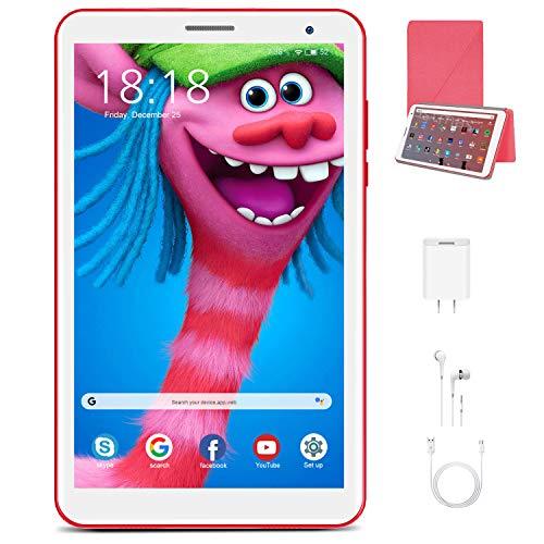 Tablet 8 Pulgadas Android 10.0 Quad Core DUODUOGO E8 WiFi Tablet para Niños 3GB RAM 32GB ROM/128GB Escalables Double Cámara Tablet PC Google GMS Netfilx Batería 5000mAh Juguete para Niños (Rojo)