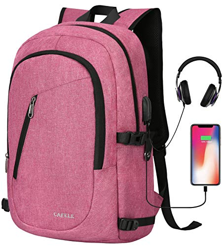 CAFELE Laptop Backpack, Anti Theft Water Resistant College Student Bookbag School Backpack with USB Port, Slim Lightweight Backpack, Carry On Daypack for Work Travel Campus Fit 15.6' Computer,Pink