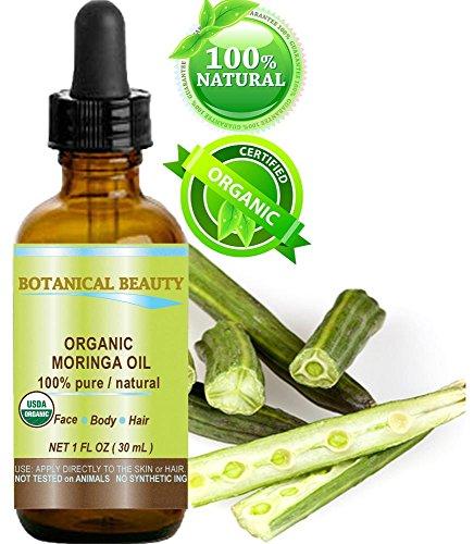Moringa olio biologico certificato. 100% puro/naturale/non diluito. 1fl. oz.-30ml. Per pelle, capelli, labbra e unghie by Botanical beauty