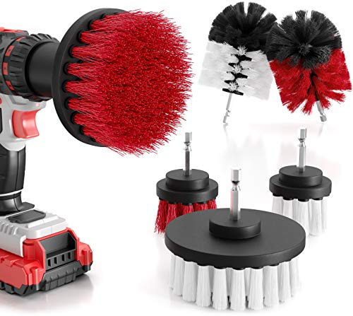 M&A QUALITY - Brush attachment drill set of 6 - soft and hard cleaning brushes for almost all surfaces - extra easy cleaning - drill brush - brush attachment cordless screwdriver.