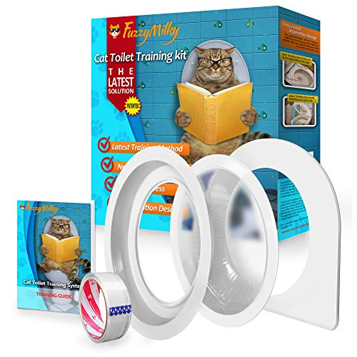 FuzzyMilky Cat Toilet Training System The 2nd Generation - Kitty Toilet Training Kit Teach Cat to Use Toilet
