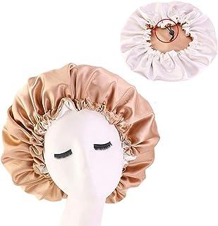 Satin Bonnet Sleep Bonnet Cap Large Double Layer Reversible Adjustable Satin Cap for Sleeping Hair Bonnet Champagne+Beige