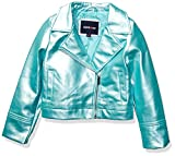 Limited Too Girls' Big PU Moto Jacket, Metallic Teal, 10/12