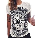 Tops Mujer Verano Fashion Punk Rock con Impresión Shirts Es