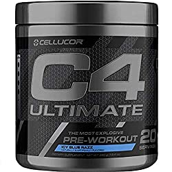C4 Ultimate Pre Workout Powder ICY Blue Razz | Sugar Free Preworkout Energy Supplement for Men & Wom