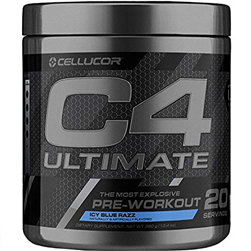 C4 Ultimate Pre Workout Powder Icy Blue Razz | Sugar Free Preworkout Energy Supplement for Men & Women | 300mg Caffeine + Beta Alanine + Creatine | 20 Servings