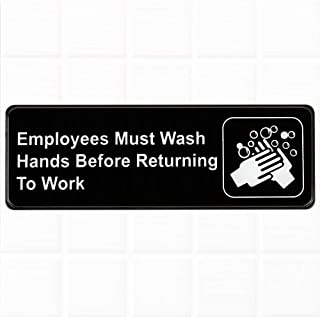 "Tezzorio Employees Must Wash Hands Before Returning to Work Sign - Black and White, 9"" x 3"" Restaurant Compliance Sign"