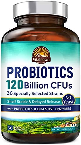 Vitalitown 120 Billion CFUs Probiotics 36 Strains Prebiotics Digestive Enzymes for Men Women product image