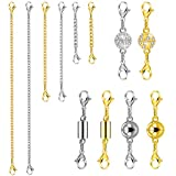 QACOWW 12 Pieces Necklace Extension Clasps Set, Chain Extenders for Necklace Bracelet Jewelry Making Supplies (Gold)