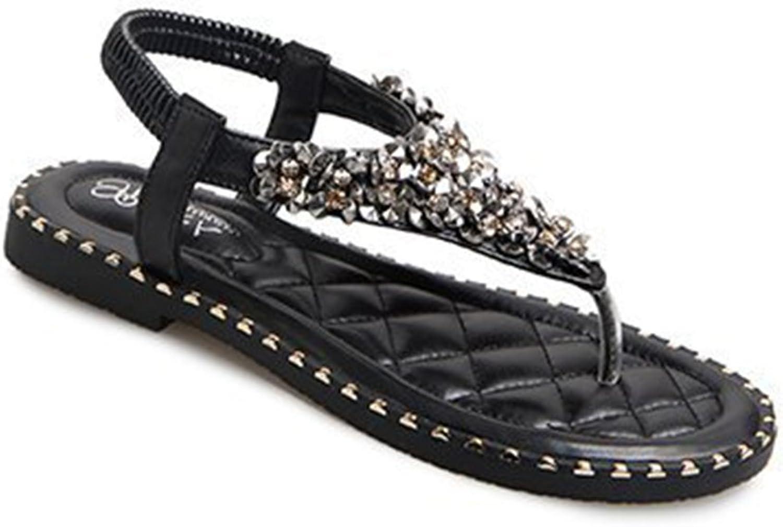 Kyle Walsh Pa Women Thong Summer- Bohemia Rhinestone Rivet Slippers Casual Flip Flops Beach Sandals