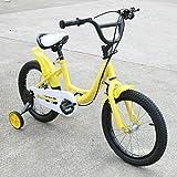 Wangkangyi Bicicleta infantil Jasemy de 16 pulgadas, con rueda auxiliar, altura ajustable, color amarillo