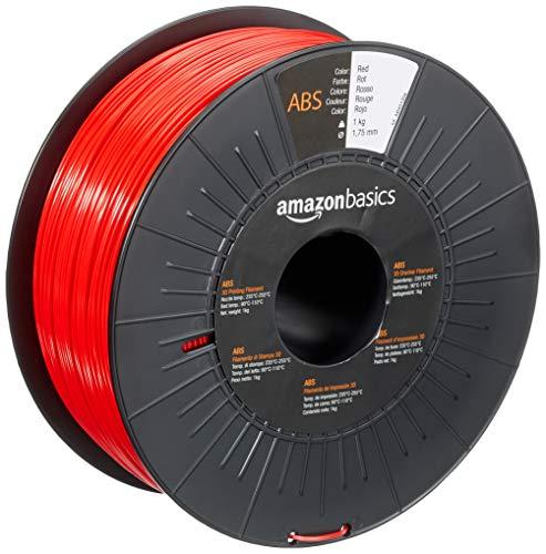 AmazonBasics - Filamento per stampanti 3D, in ABS, 1,75mm, rosso, 1 kg per bobina