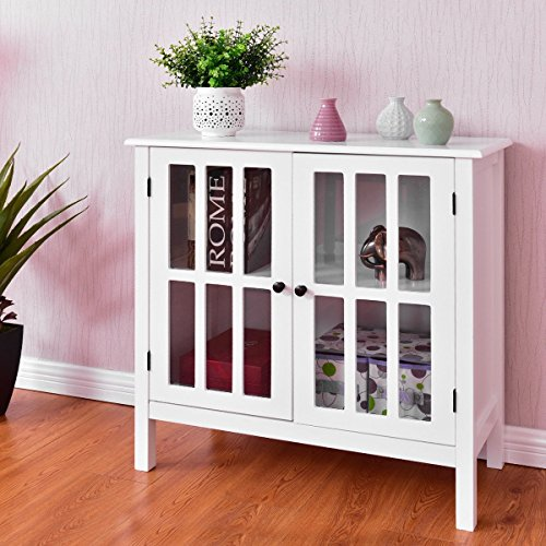 Best Choice for Organizing Ideal Combination of Elegance and Functionality Wood Glass Door Sideboard Console Storage Buffet Cabinet Perfect for the Bathroom, Hallway, Living Room, etc White