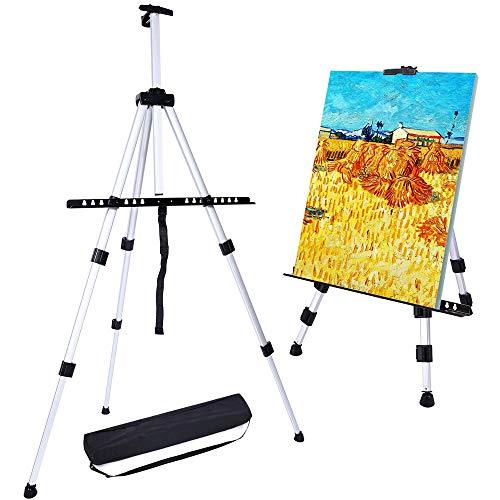 Caballete de Pintura Regulable Aleación de Aluminio Ligero Caballete Plegable trípode telescópico de Pintura, póster, etc. Multifunción Con bolsa de transporte (negro)