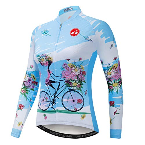 Maillot de ciclismo para mujer, manga larga, diseño de flores - Azul...