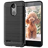 Case Compatible with Rebel 4 LTE Phone Case,LG Tribute Dynasty Cases,Slim Thin Soft Flexible TPU Carbon Fiber Shockproof Texture Protective Cover for LG Aristo 2,Brushed Black