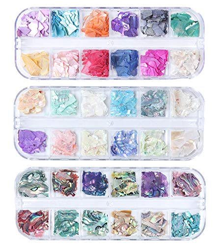 GOTONE 3 paquetes Uñas irregulars Decoraciones de arte UV 3D Uñas en escamas Bricolaje Joyería de perlas Tips Manicure Polish